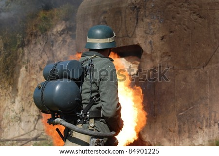 German soldier with flame-thrower. WW2 reenactment in Kiev,Ukraine