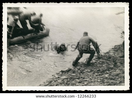 German soldiers landing, World War II The photo was taken by my deceased grandfather. I am owner of all rights. - stock photo