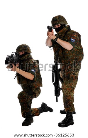German soldiers with the weapon