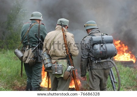 German soldiers . WW2 reenactment in Kiev,Ukraine