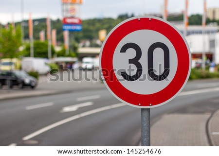 german 30 speed sign - stock photo