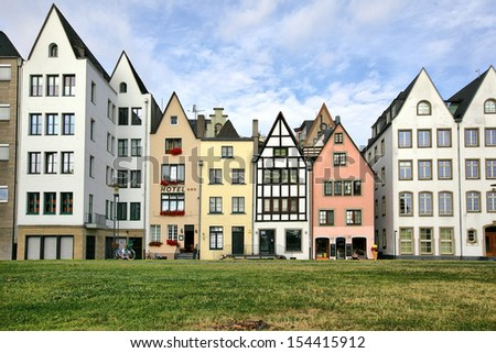 German-style houses in Cologne, Germany. - stock photo