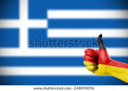 German support for Greece in financial trouble - stock photo