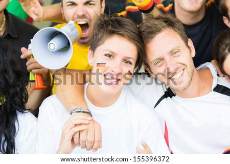 German Supporters at Stadium - stock photo