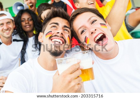 German Supporters at Stadium - stock photo