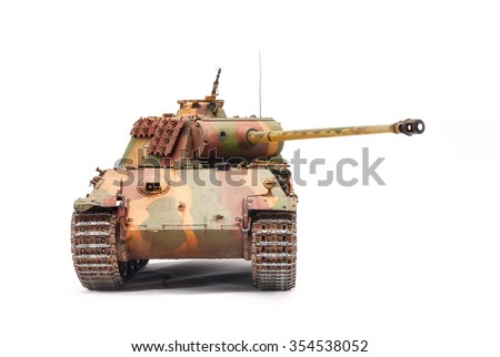 German tank Panther of World War II period over white background - stock photo