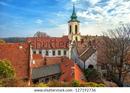 German town, red tiled roofs - stock photo