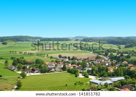 German village on viewing from tower at Andechs Monastery, horizontal - stock photo