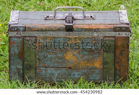 German wooden suitcase in front  used by the German Army in the Second World War