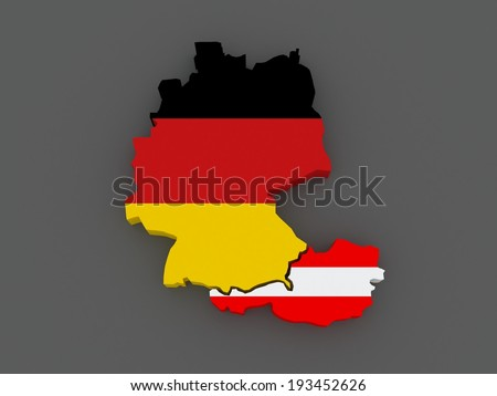 Germany and Austria. map. 3d