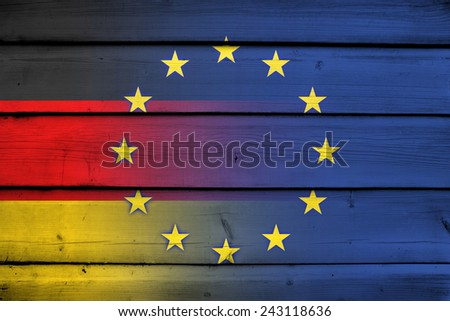 Germany and European Union Flag on wood background - stock photo