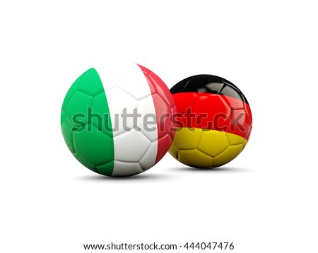 Germany and Italy soccer balls isolated on white. 3D illustration