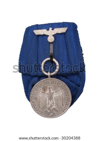 Germany at WW2. Medal for 12 year-service in Wehrmacht. (German army). Path on the white background. - stock photo