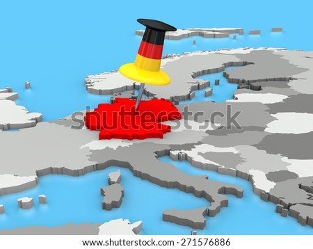 Germany attached to the map of Europe with a huge push pin colored as the German flag - stock photo