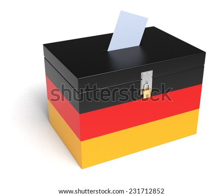 Germany ballot box with German Flag. Isolated on white background. - stock photo