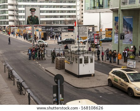 Germany, Berlin, February 21, 2013 . Check Point Charlie. Landmark View. (During World War II - one of the checkpoints of the U.S. to the Soviet occupation zone ) - stock photo