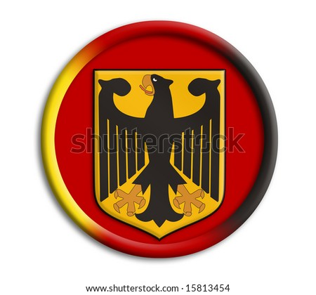 Germany button shield on white background - stock photo