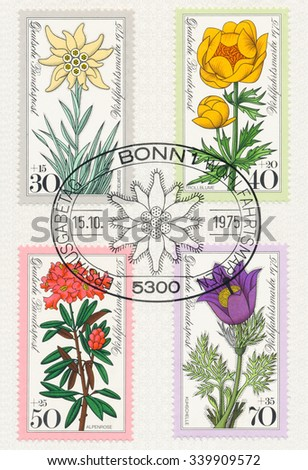 GERMANY - CIRCA 1975: A  first day of issue postmark printed in Germany, shows Edelweiss, Trollflower, Alpine rose, Pasqueflower, Series Alpine Flowers, circa 1975 - stock photo