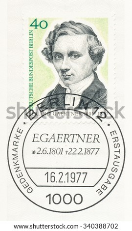GERMANY - CIRCA 1977: A  first day of issue postmark printed in Germany, shows Eduard Gaertner (1801-77), Painter, circa 1977 - stock photo