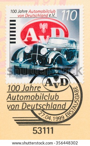 GERMANY - CIRCA 1999: A  first day of issue postmark printed in Germany, shows Maybach Pullman Cabriolet 1936, German Automobile Club, Cent., circa 1999 - stock photo