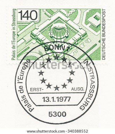 GERMANY - CIRCA 1977: A  first day of issue postmark printed in Germany, shows Palais de l Europe, Strasbourg, Inauguration of the new Council of Europe Headquarters, Jan. 28. circa 1977 - stock photo