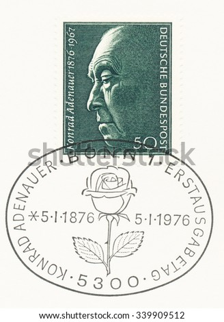GERMANY - CIRCA 1976: A  first day of issue postmark printed in Germany, shows portrait of Konrad Adenauer (1876-1967), Chancellor (1949-63), circa 1976 - stock photo