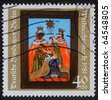 GERMANY - CIRCA 1981: A greeting Christmas stamp printed in the Germany shows birth of Jesus Christ, adoration of the Magi, circa 1981 - stock photo
