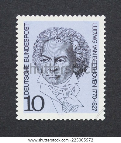 GERMANY - CIRCA 1970: a postage stamp printed in Germany showing an image of Ludwig van Beethoven, circa 1970.  - stock photo