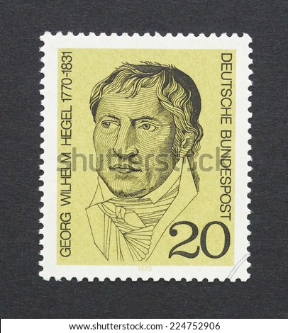 GERMANY - CIRCA 1970: a postage stamps printed in Germany showing an image of Georg Wilhelm Friedrich Hegel, circa 1970.