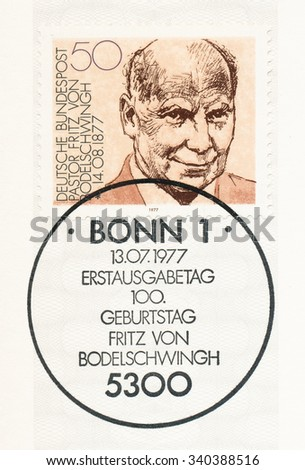 GERMANY - CIRCA 1977: A postmark printed in Germany, shows Pastor Fritz von Bodelschwingh (1877-1946), manager of Bethel Institute (for the incurable sick), birth centenary, circa 1977 - stock photo