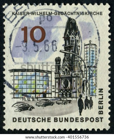 GERMANY - CIRCA 1966: A stamp printed by Germany, shows Berlin, Cathedral, Europe, city, circa 1966 - stock photo