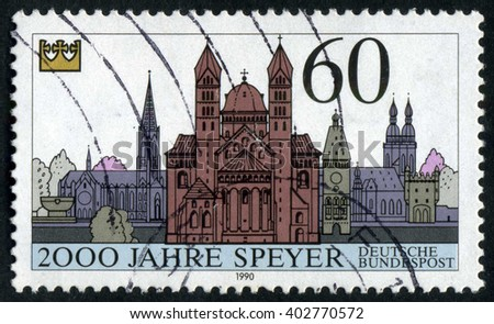 GERMANY - CIRCA 1990: A stamp printed by Germany, shows Berlin, Cathedral, Europe, city, circa 1990  - stock photo