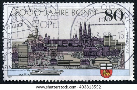 GERMANY - CIRCA 1989: A stamp printed by Germany, shows city, Europe, medieval Gothic Cathedral, circa 1989 - stock photo