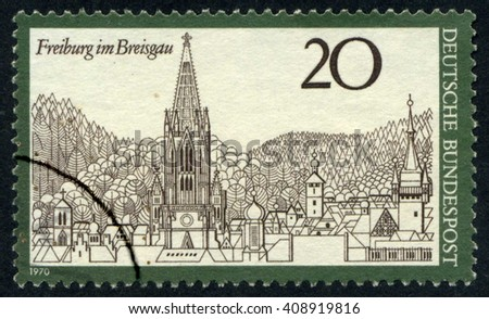 GERMANY - CIRCA 1970: A stamp printed by Germany, shows city, Europe, medieval Gothic Cathedral, circa 1970 - stock photo