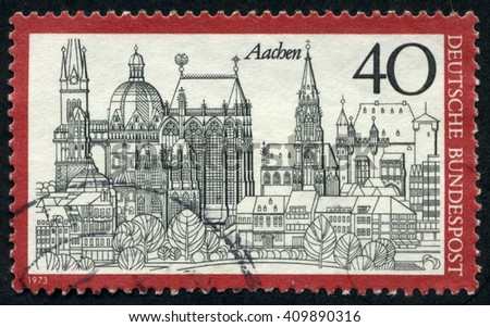 GERMANY - CIRCA 1973: A stamp printed by Germany, shows city, Europe, medieval Gothic Cathedral, circa 1973  - stock photo