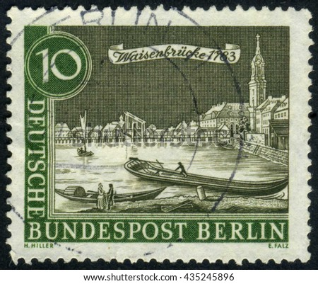 GERMANY - CIRCA 1962: A stamp printed by Germany, shows city, vintage Europe, Berlin city, circa 1962 - stock photo