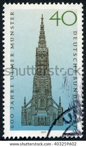 GERMANY - CIRCA 1977: A stamp printed by Germany, shows medieval Gothic Cathedral, Europe, circa 1977 - stock photo