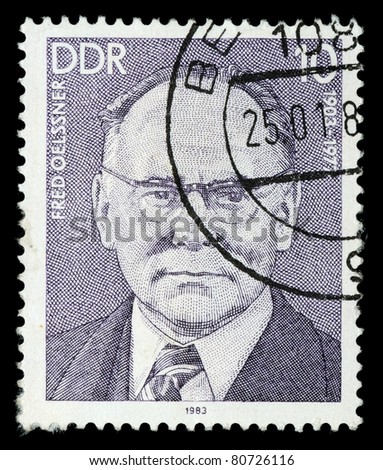 GERMANY- CIRCA 1983: A stamp printed by Germany, shows portrait Fred Oelssner, circa 1983