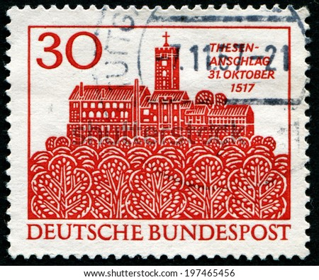 GERMANY - CIRCA 1983: A stamp printed in German Federal Republic dedicated 450th anniversary of Luther's attack on the Thesis in Wittenberg, circa 1983
