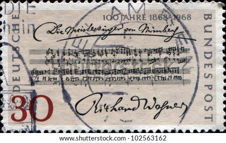 "GERMANY - CIRCA 1968: A stamp printed in German Federal Republic issued for the Centenary of 1st Performance of Richard Wagner's Opera ""The Mastersingers"", circa 1968"