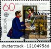 GERMANY - CIRCA 1971: A stamp printed in German Federal Republic shows Post Office window, 1854, circa 1971 - stock photo