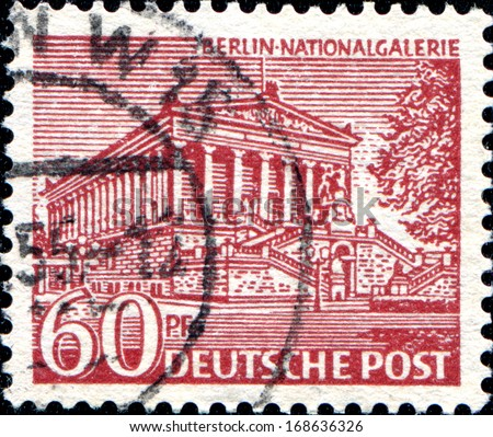 GERMANY - CIRCA 1949: A stamp printed in  Germany, Berlin shows Nationalgallery (Alte Nationalgalerie) of Berlin, circa 1949  - stock photo