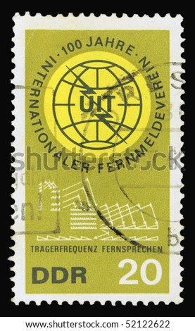 GERMANY - CIRCA 1965: A stamp printed in Germany dedicated to 100 years of telecommunications, circa 1965 - stock photo