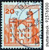"GERMANY - CIRCA 1977: A stamp printed in Germany from the ""Strongholds and castles"" issue shows Pfaueninsel castle, Berlin, circa 1977. - stock photo"