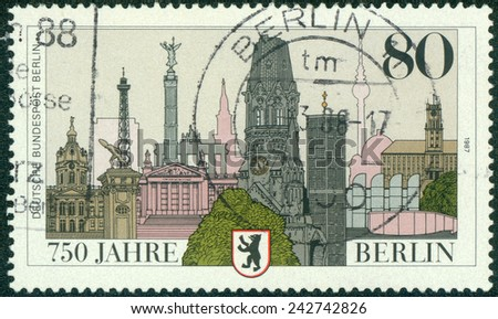 GERMANY - CIRCA 1987: A stamp printed in Germany, is dedicated to the 750th anniversary of Berlin, circa 1987 - stock photo