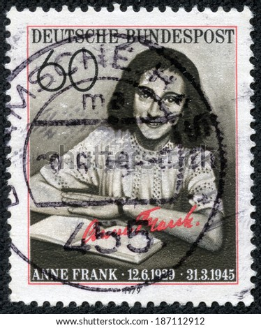 """GERMANY - CIRCA 1979: A stamp printed in Germany, is dedicated to the 50th anniversary of the birth Annelies Marie """"Anne"""" Frank, circa 1979 - stock photo"""