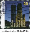 GERMANY - CIRCA 2011: A stamp printed in Germany, is dedicated to the 50th anniversary of the new Kaiser Wilhelm Church, circa 2011 - stock photo