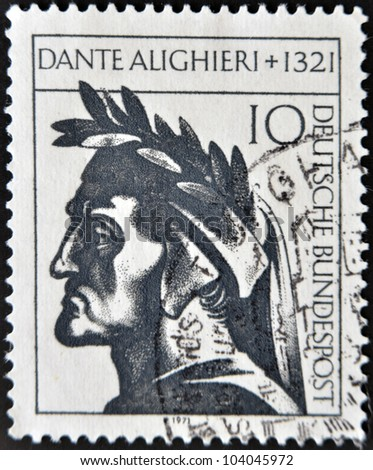 GERMANY - CIRCA 1971: A stamp printed in Germany showing Dante Alighieri, circa 1971