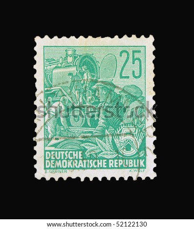 GERMANY - CIRCA 1956: A stamp printed in Germany showing engineers, circa 1956