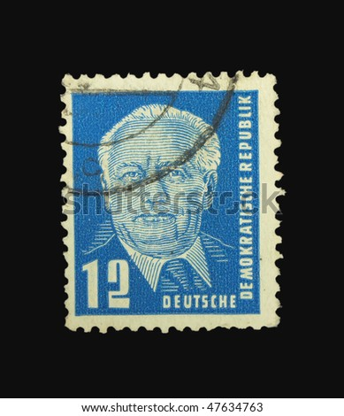 GERMANY - CIRCA 1950: A stamp printed in Germany showing Ernst Thalmann circa 1950